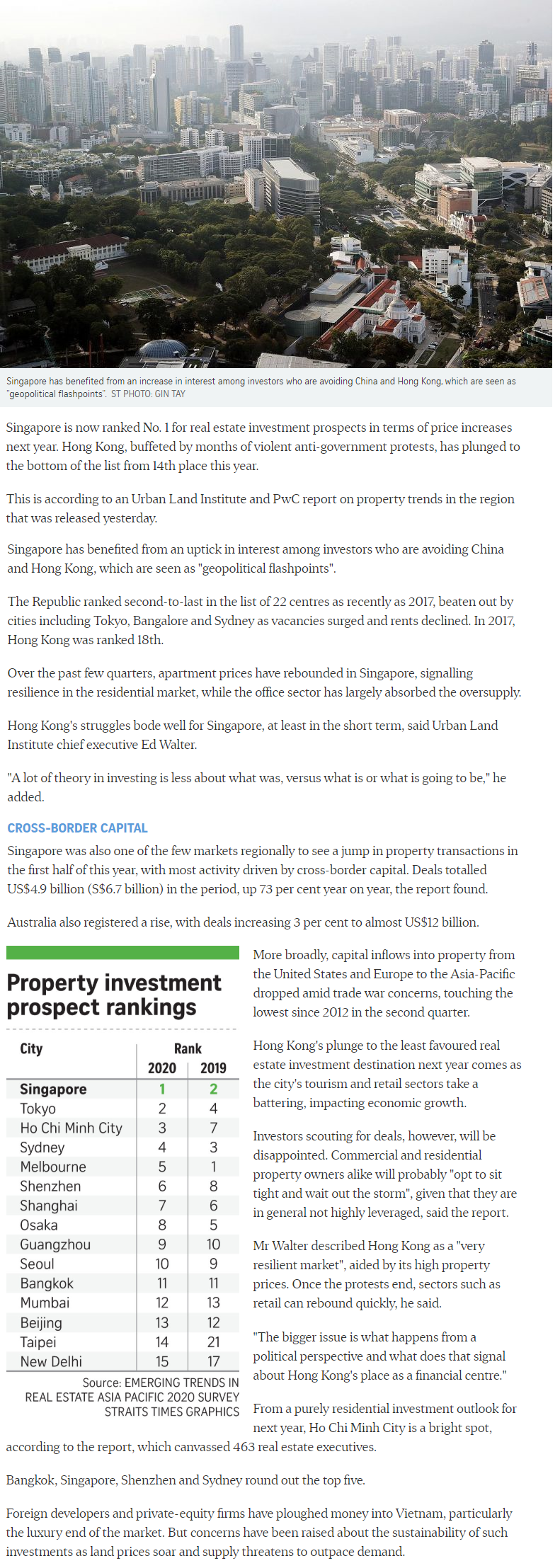 La Mariposa - Singapore Tops Region For Property Investment Prospects
