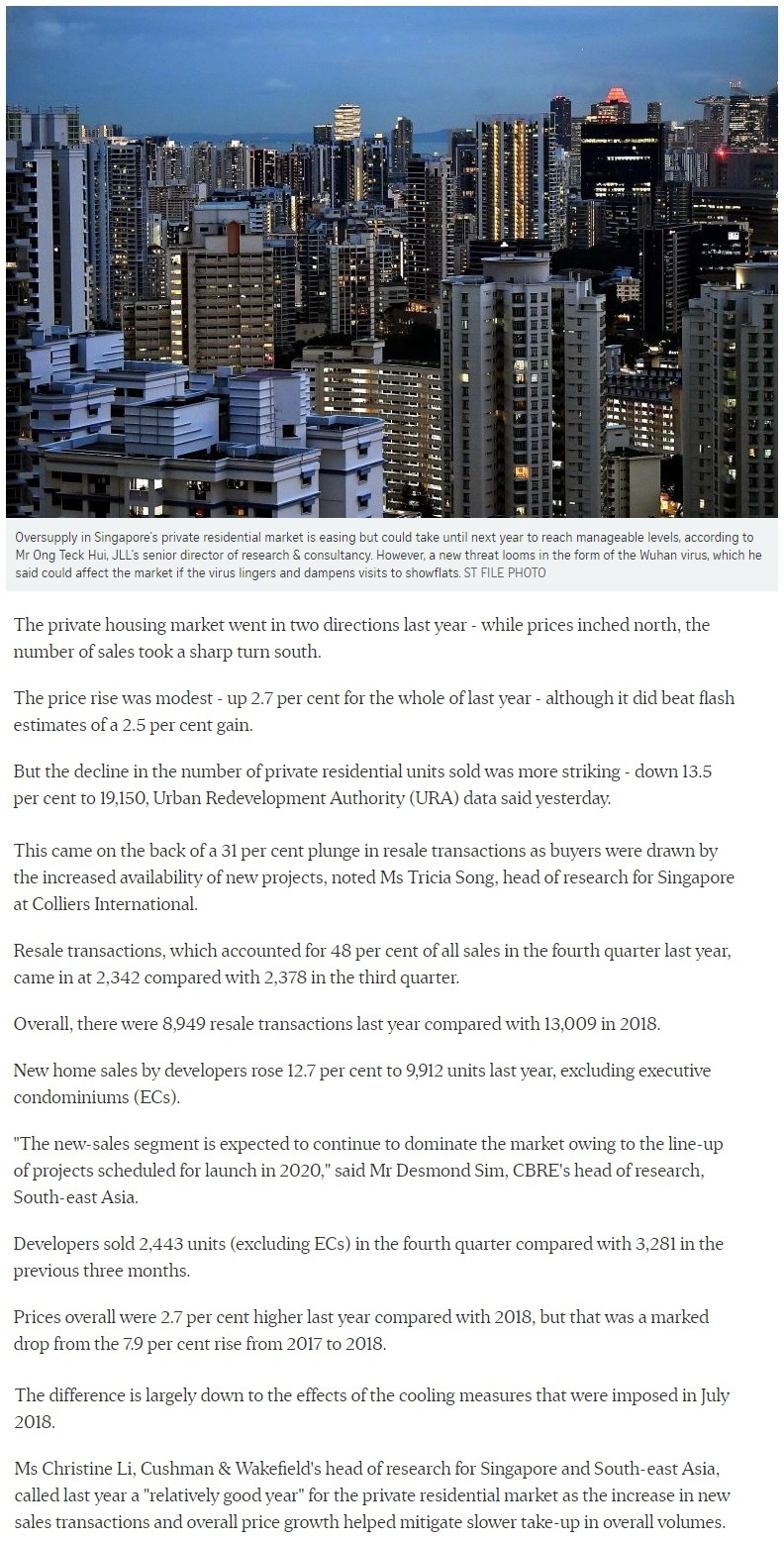 La Mariposa - Singapore private home prices inch up 2.7% for 2019 Part 1